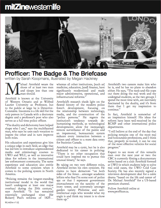 """mitZine Vol. 11, Issue 4. Feb. 2012. Article """"The Badge and the Briefcase"""". Page 10."""