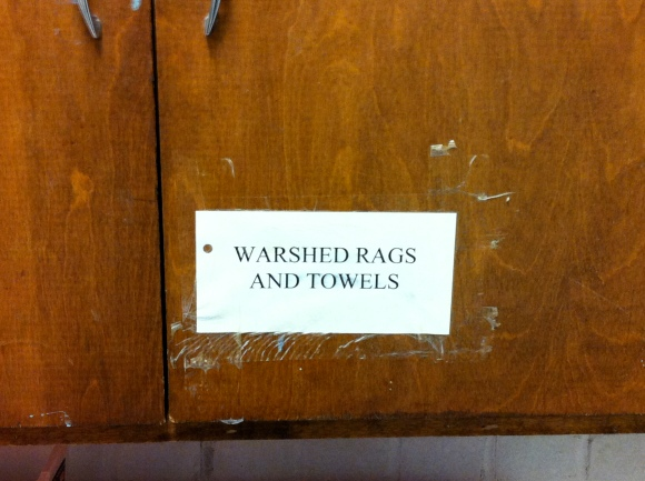 """""""Warshed rags and towels..."""""""