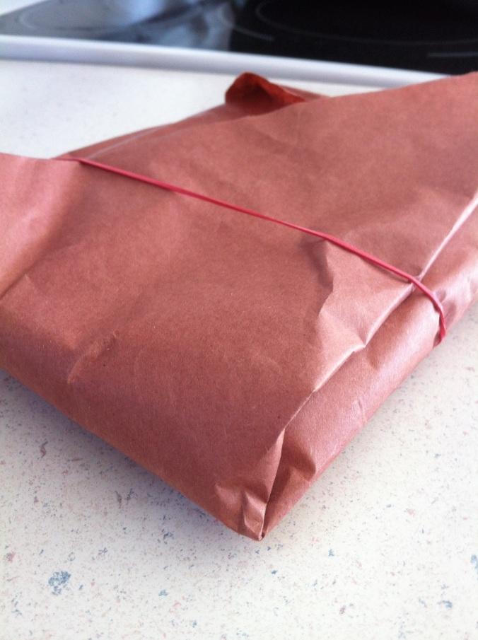 Paper-wrapped smoked turkey