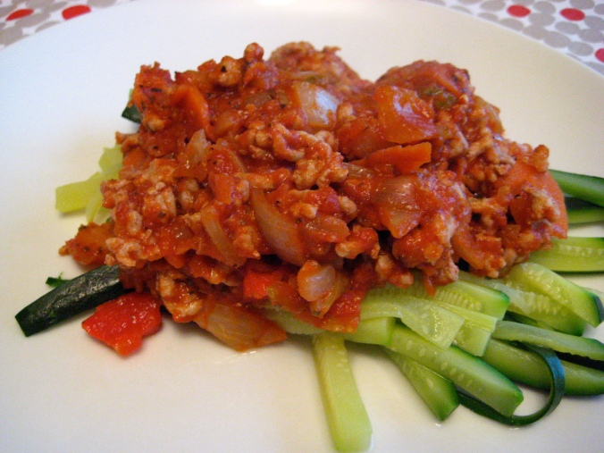 Tomato & Pork Sauce over Zucchini