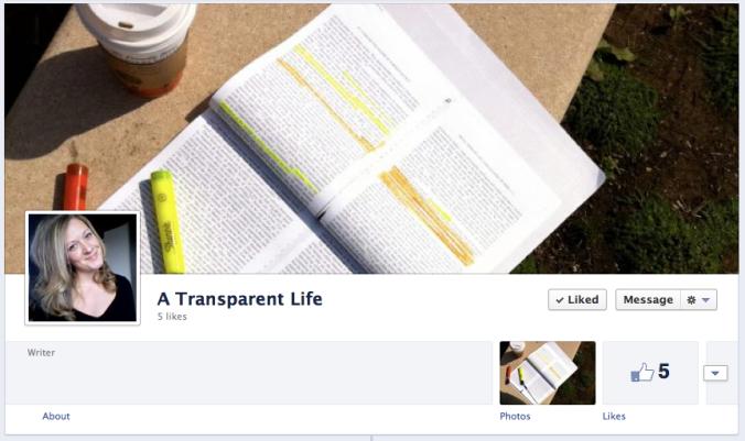 A Transparent Life's Facebook page