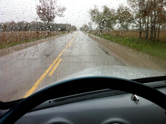 Flo on a rainy road