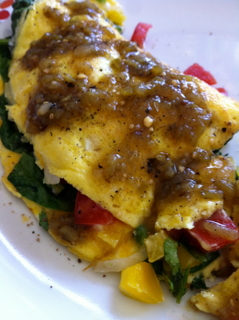 omelette with green salsa
