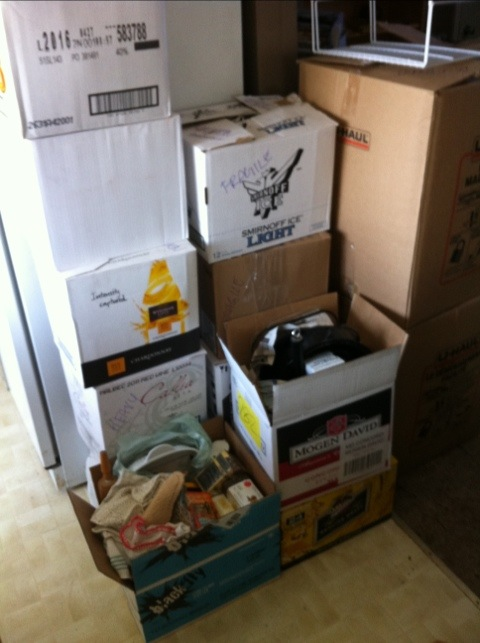 Boxes piled high...