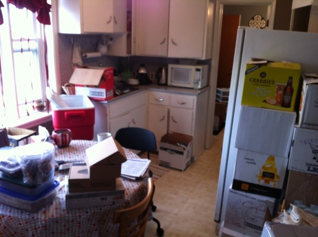 The kitchen before the moving helpers came to pack it in a truck