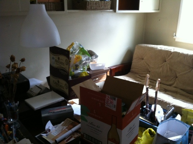The most difficult room to pack: the spare room/office. Argh.