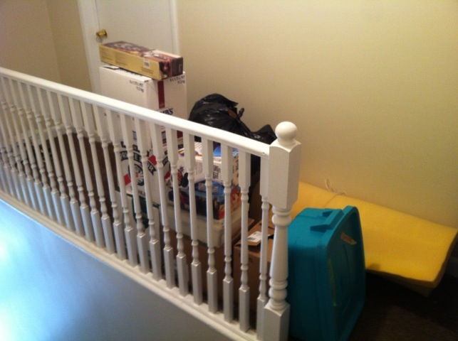 Thank goodness no one lives across the hall: I needed the extra box-stacking space!